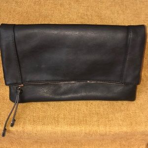 SOLE SOCIETY BLACK LEATHER FOLDING CLUTCH